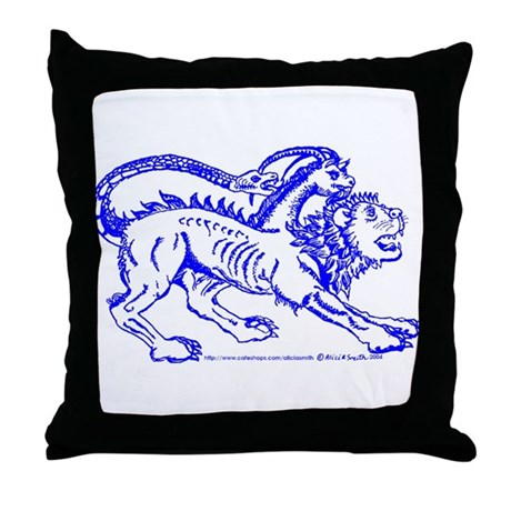 Blue Chimera of Arezzo Throw Pillow