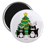 2 Tuxedo Cats With Antlers Christmas Magnets