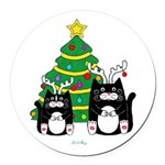 2 Cats With Antlers Christmas Round Car Magnet
