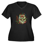 Siamese Cat Tangled In Christmas Plus Size T-Shirt