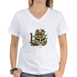 Siamese Cat Tangled In Christmas Lights T-Shirt