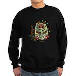 Siamese Cat Tangled In Christmas Sweatshirt (dark)