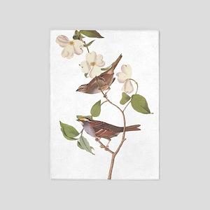 Audubon White Throated Sparrow 5'x7'area Rug