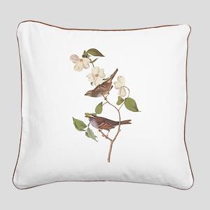 Audubon White Throated Square Canvas Pillow
