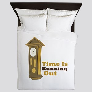 Grandfather_Clock_Time_Is_Running_Out Queen Duvet