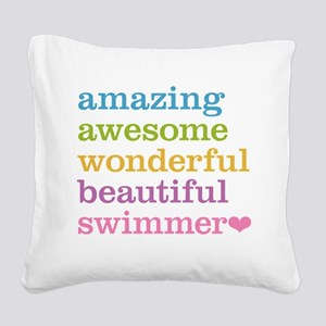 Swimmer Square Canvas Pillow