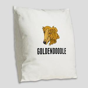 Goldendoodle Burlap Throw Pillow