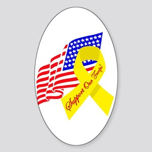 Support Our Troops US Flag Oval Sticker