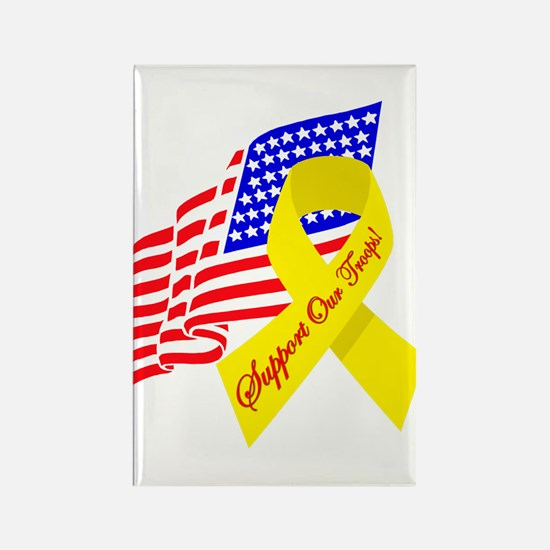 Support Our Troops US Flag Rectangle Magnet