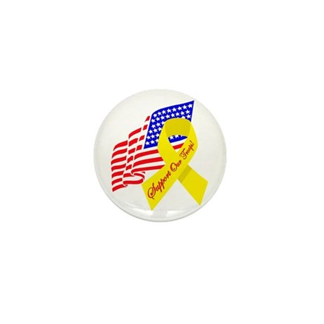 Support Our Troops US Flag Mini Button (10 pack)