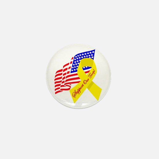 Support Our Troops US Flag Mini Button