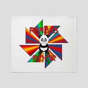 Pandas Rock Throw Blanket