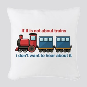 Train Talk Woven Throw Pillow