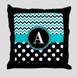 Turquoise Chevron Polka Dot Throw Pillow