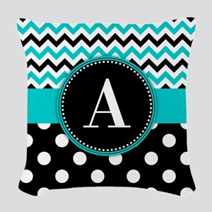 Turquoise Chevron Polka Dot Woven Throw Pillow