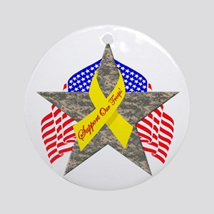 Support Our Troops Star Ornament (Round)
