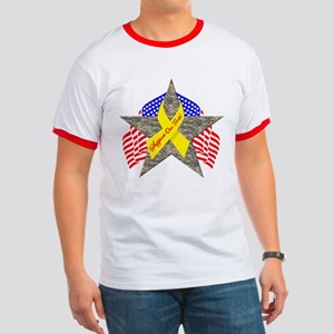 Support Our Troops Star Ringer T