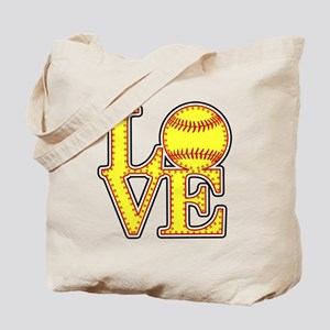 Love Softball Stitches Tote Bag