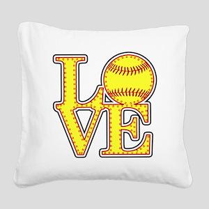 Love Softball Stitches Square Canvas Pillow