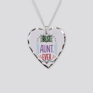 Best Aunt Ever Necklace Heart Charm