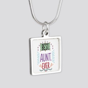 Best Aunt Ever Silver Square Necklace