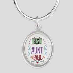 Best Aunt Ever Silver Oval Necklace