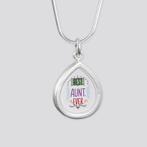 Best Aunt Ever Silver Teardrop Necklace