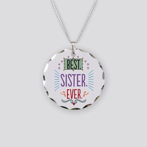 Sister Necklace Circle Charm