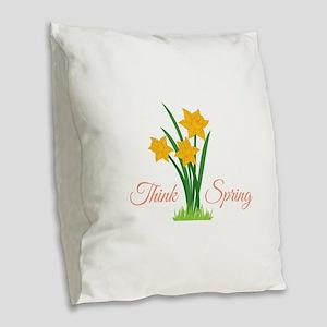Think Spring Burlap Throw Pillow