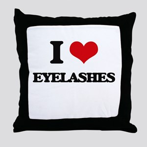 I love Eyelashes Throw Pillow