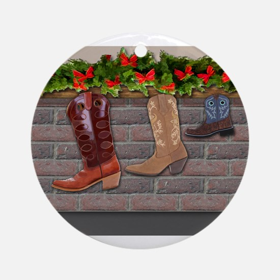 Boot Stockings by the Fireplace b Ornament (Round)