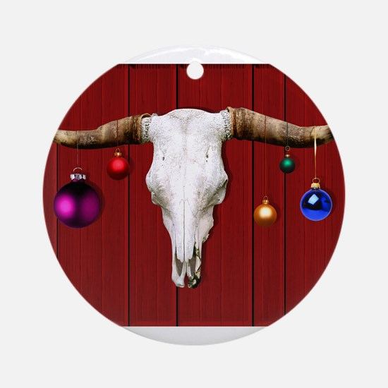 Cow Skull with Christmas Ornament Ornament (Round)