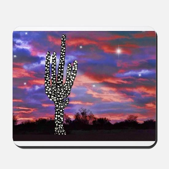 Christmas Lights Saguaro Cactus Silhouet Mousepad