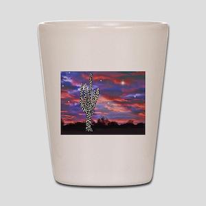 Christmas Lights Saguaro Cactus Silhoue Shot Glass