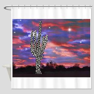 Christmas Lights Saguaro Cactus Sil Shower Curtain