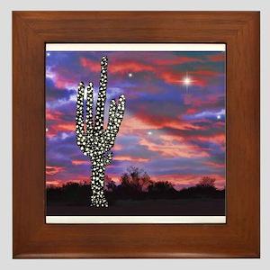 Christmas Lights Saguaro Cactus Silhou Framed Tile