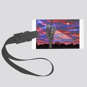 Christmas Lights Saguaro Cactus Large Luggage Tag