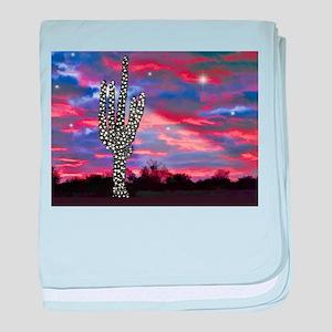 Christmas Lights Saguaro Cactus Silho baby blanket