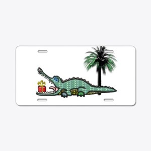 Xmas Gator Gift Aluminum License Plate