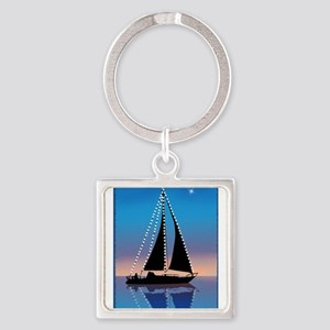Sails at Sunset Silhouette with Xmas Lig Keychains