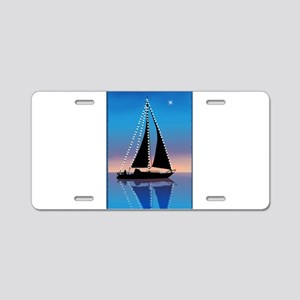 Sails at Sunset Silhouette Aluminum License Plate