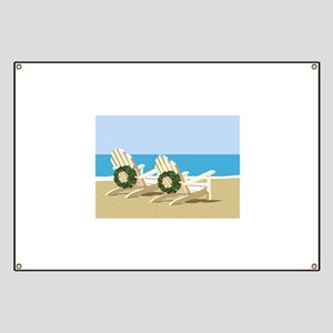 Beach Chairs with Wreaths Banner