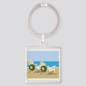 Beach Chairs with Wreaths Keychains
