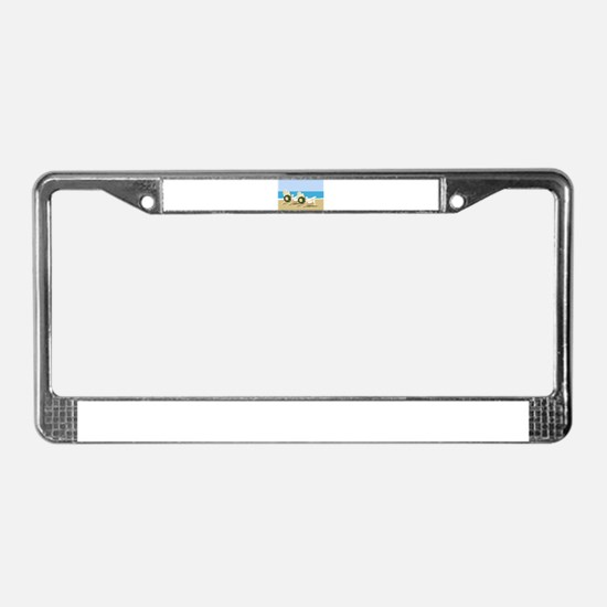 Beach Chairs with Wreaths License Plate Frame