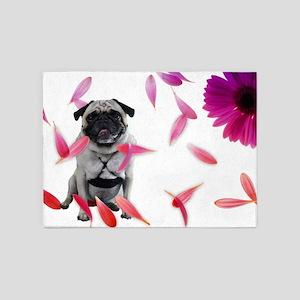 Sexy Pug in Petals 5'x7'Area Rug