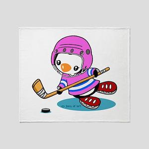 Ice Hockey Penguin (p) Throw Blanket