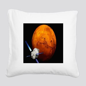 Orion Approaching The Red Pla Square Canvas Pillow