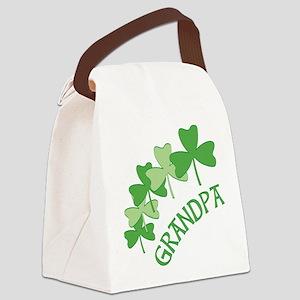 Grandpa Irish Shamrocks Canvas Lunch Bag
