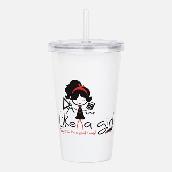 Math ~ Like a girl! Acrylic Double-wall Tumbler