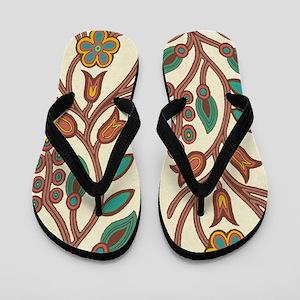 Ojibway Floral Flip Flops